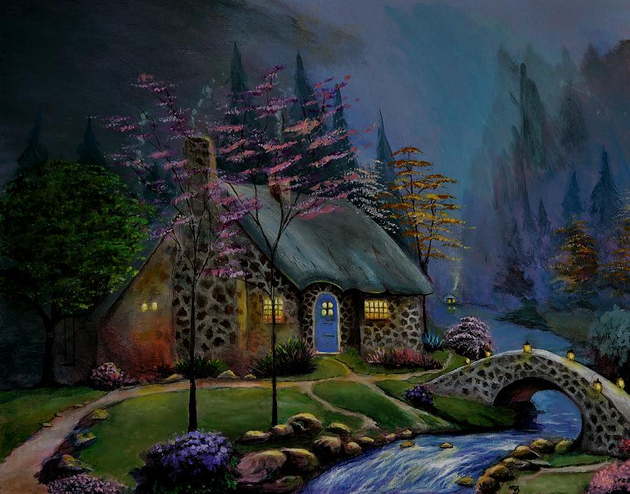 Country Cottage Painting - Study Of Kinkade Style Of Painting by Stefon Marc Brown