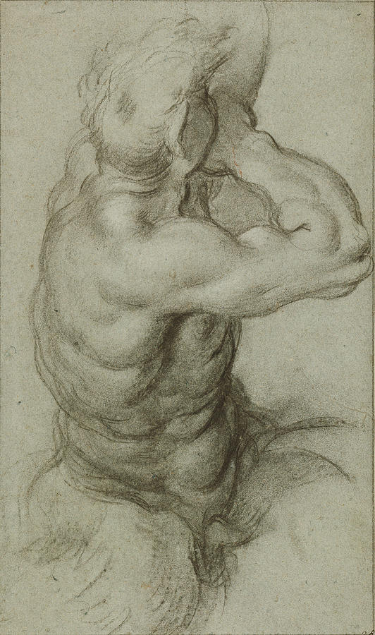 Study Drawing - Study Of Triton Blowing A Conch Shell Recto by Litz Collection