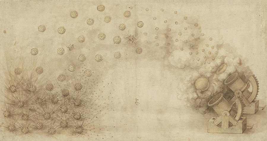 Leonardo Drawing - Study Of Two Mortars For Throwing Explosive Bombs From Atlantic Codex by Leonardo Da Vinci