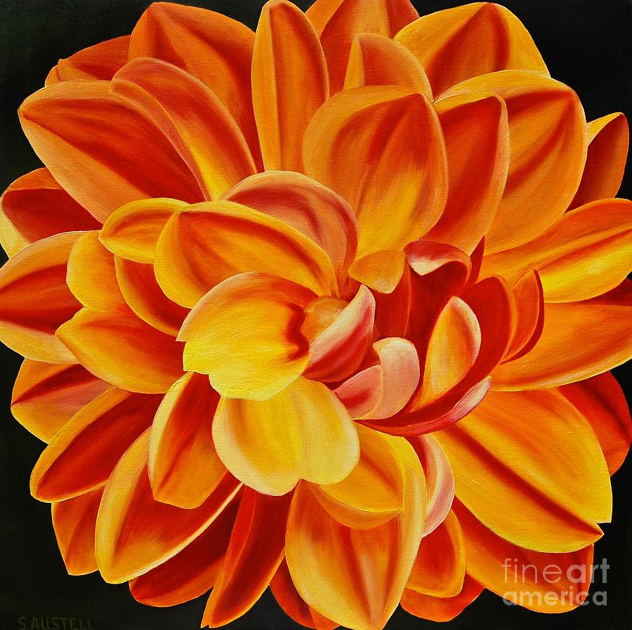 Study Of Yellow And Red Dahlia Painting By Sonja Austell