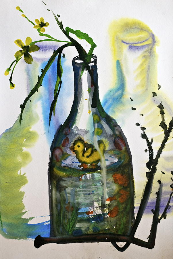 Study - Yellow Ducky In  Bottle Painting