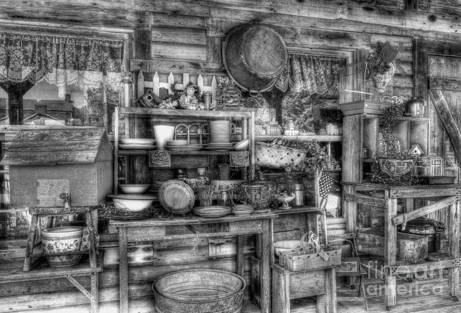 For Sale Photograph - Stuff For Sale Bw by Mel Steinhauer