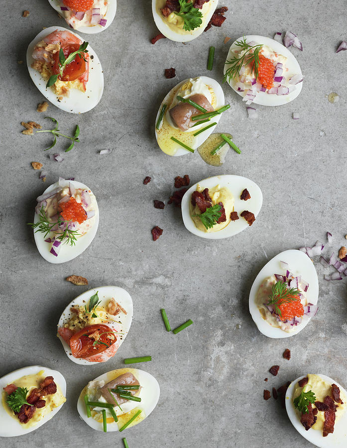 Stuffed Eggs On Grey Background, Sweden Photograph by Johner Images
