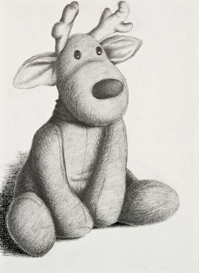 Stuffed Toy Reindeer Drawing by Jeanette K