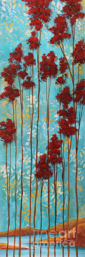 Abstract Painting - Stunning Abstract Landscape Elegant Trees Floating Dreams I By Megan Duncanson by Megan Duncanson