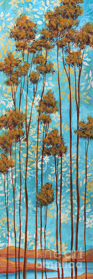 Abstract Painting - Stunning Abstract Landscape Elegant Trees Floating Dreams II By Megan Duncanson by Megan Duncanson