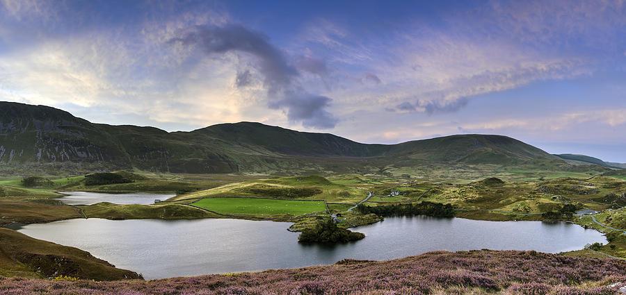 Landscape Photograph - Stunning Sunrise Panorama Landscape Of Heather With Mountain Lak by Matthew Gibson