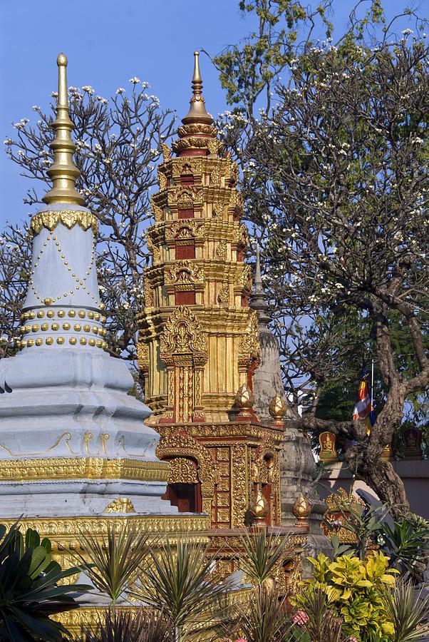 Stupas, Wat Preah Prom Rath, Siem Reap Photograph by Photo By D. Johnson