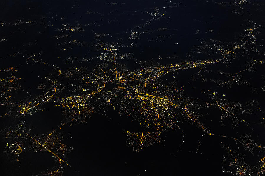 Stuttgart From The Air At Night Photograph by (c) Florian Leist