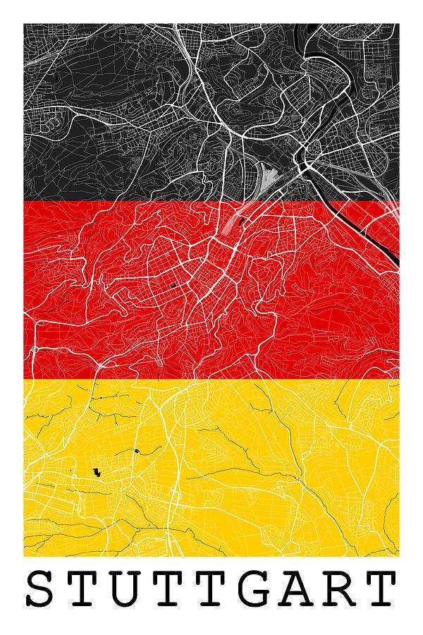 Stuttgart Street Map Stuttgart Germany Road Map Art On