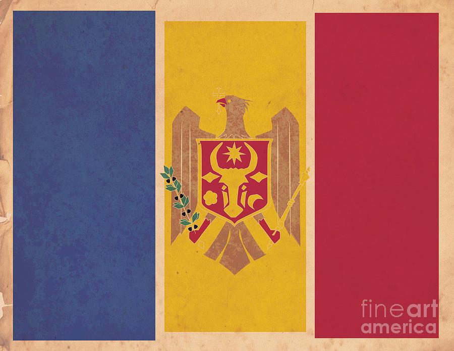 Moldova Digital Art - Stylized Moldovan Flag  by Megan C