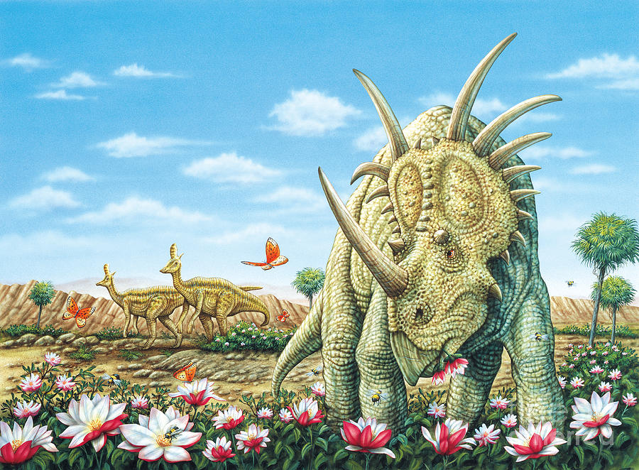 Dinosaurs Painting - Styracosaurus eating Magnolias with Lambeosaurus by Phil Wilson