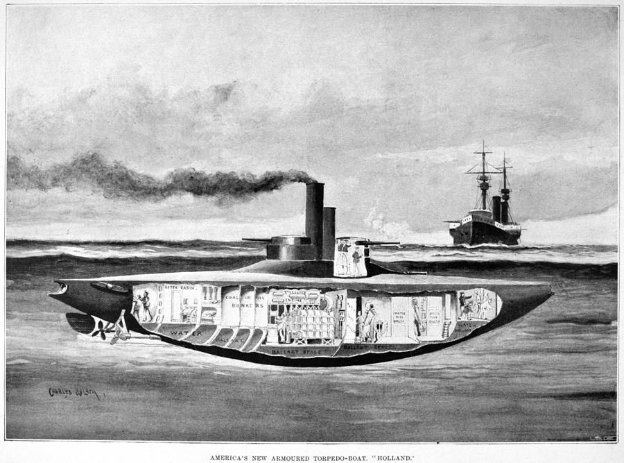 1898 Drawing - Submarine holland, 1898 by Granger