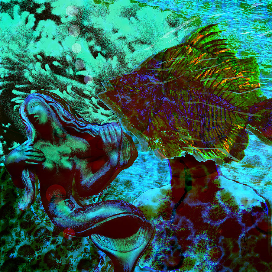 Mermaid Digital Art - Submerged Courtship by Maria Jesus Hernandez
