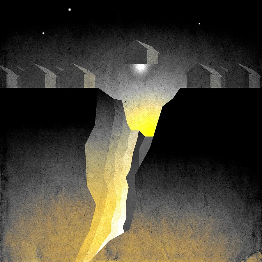 Abstract Expressionism Digital Art - Suburban Fracture  by Milton Thompson
