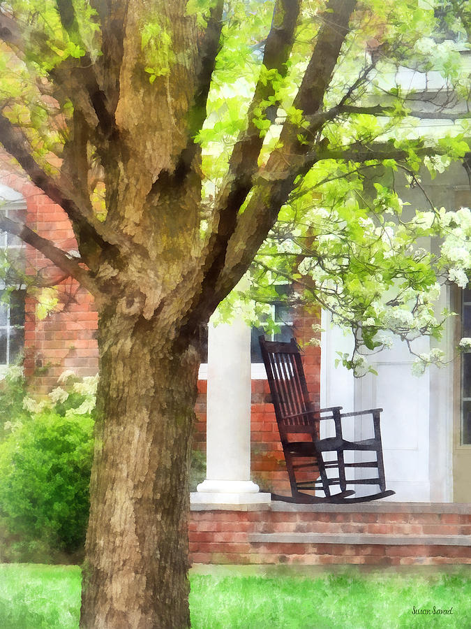 Porch Photograph - Suburbs - Rocking Chair On Porch by Susan Savad