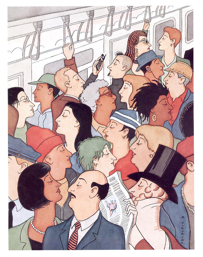 Subway Riders All Resemble Eustace Tilley Digital Art by R Sikoryak
