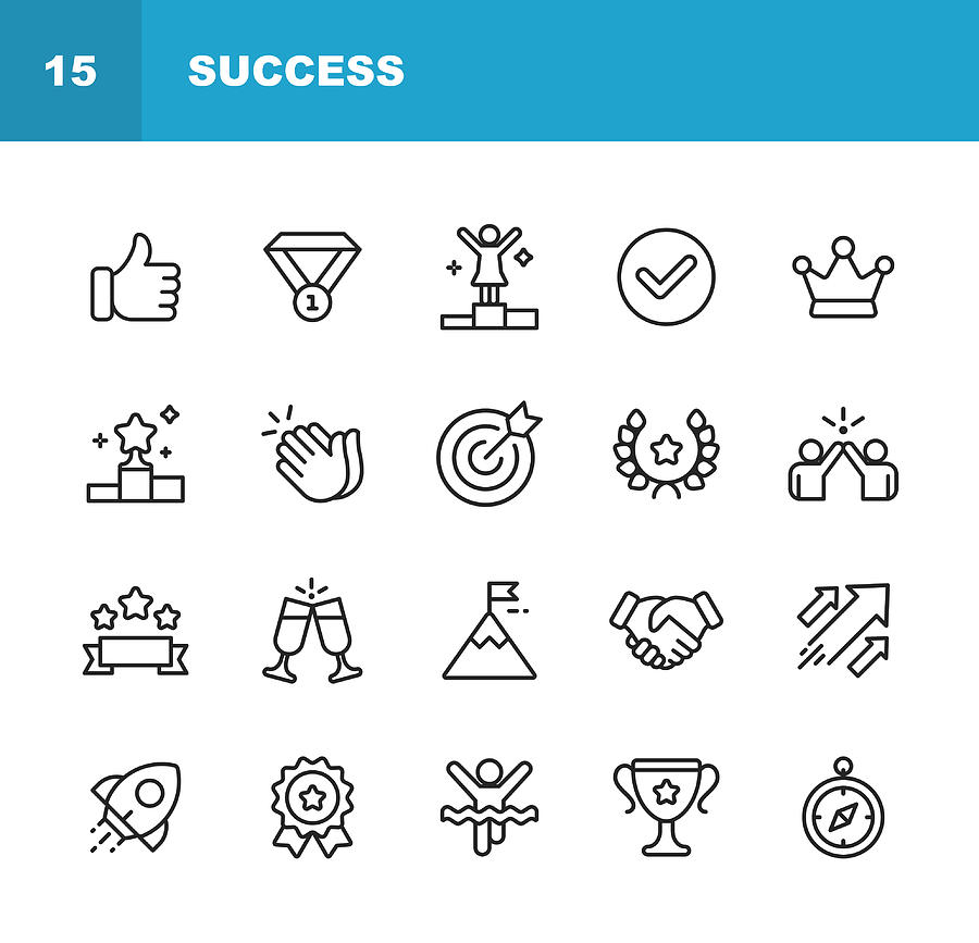 Success and Awards Line Icons. Editable Stroke. Pixel Perfect. For Mobile and Web. Contains such icons as Winning, Teamwork, First Place, Celebration, Rocket. Drawing by Rambo182
