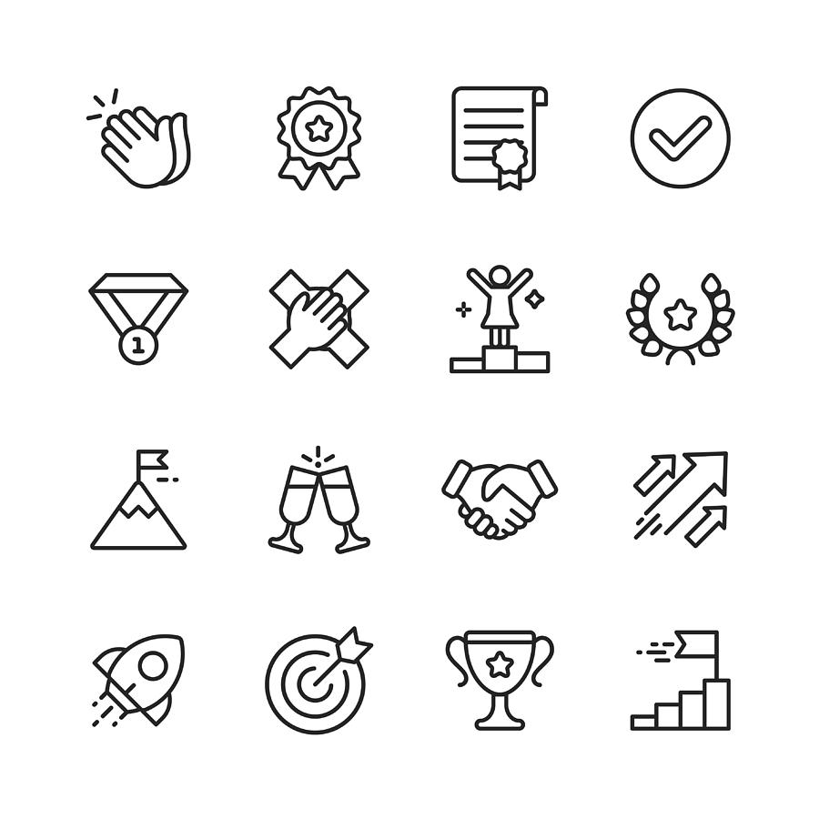 Success Line Icons. Editable Stroke. Pixel Perfect. For Mobile and Web. Contains such icons as Applause, Medal, Trophy, Champagne, StartUp, Handshake. Drawing by Rambo182