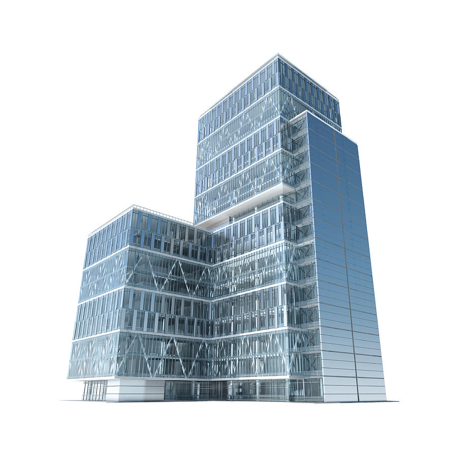 Successful business: modern corporate office building with clipping path Photograph by Maxiphoto