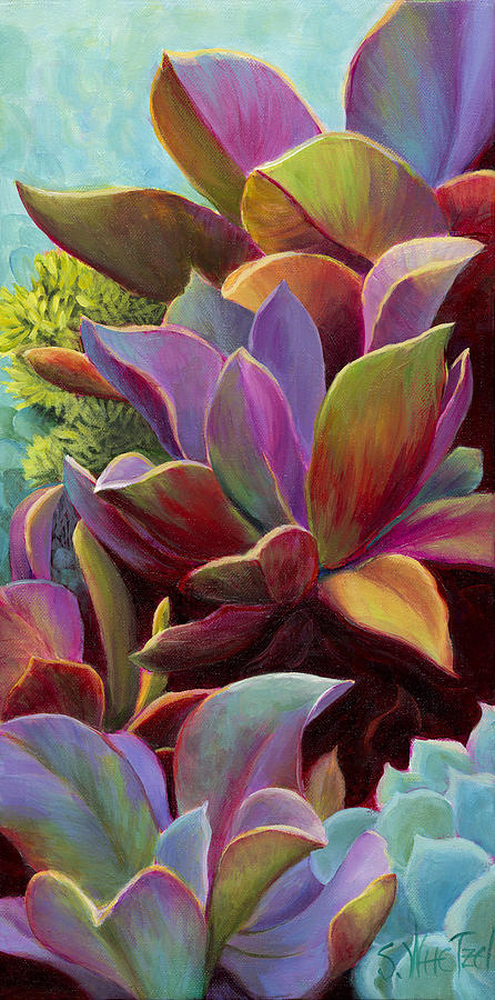 Acrylic Painting - Succulent Jewels by Sandi Whetzel