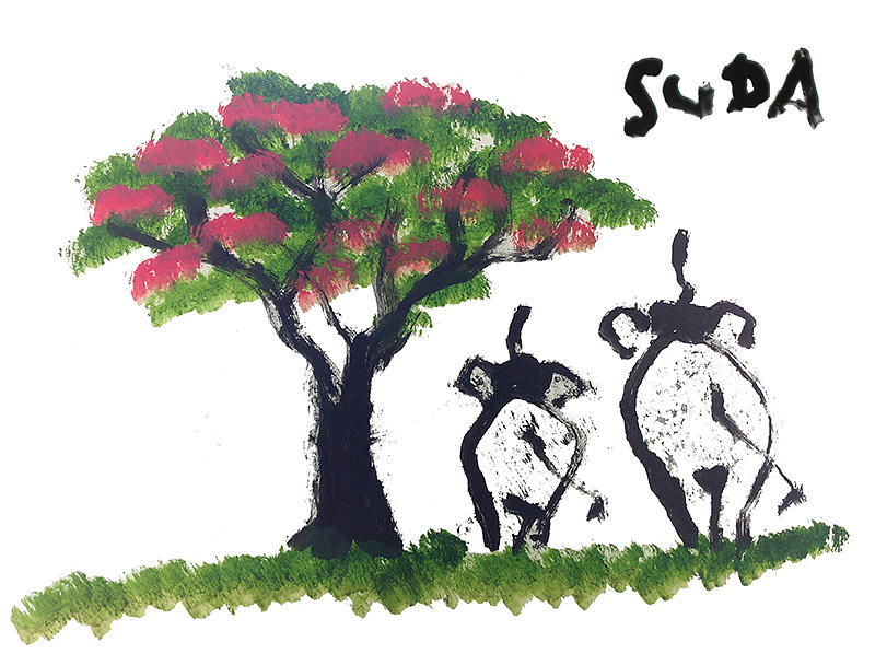 Elephants Painting - Suda Pink Version by Colin Smeaton