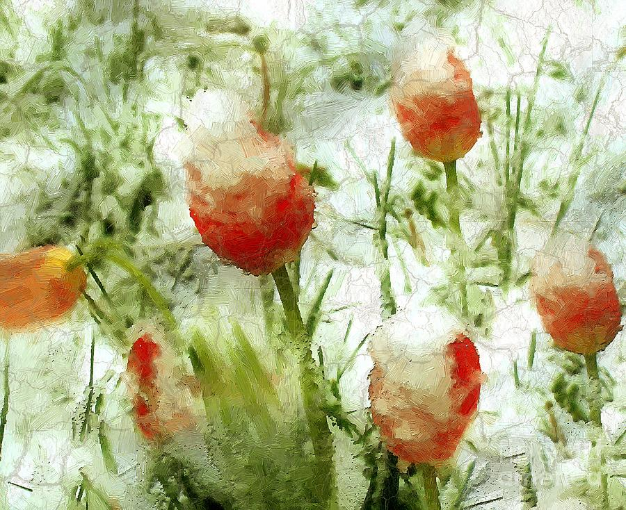 Tulips Painting - Suddenly Snow by RC deWinter