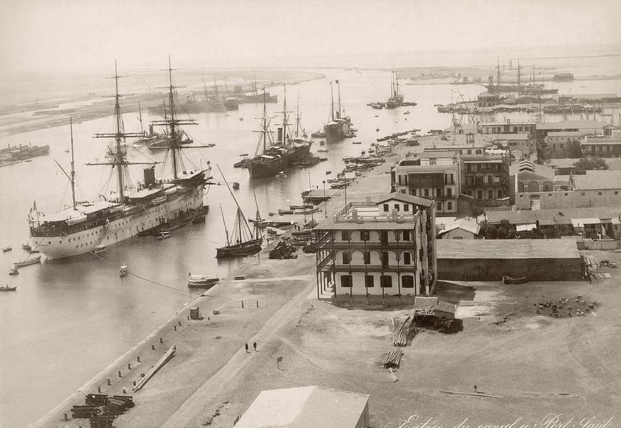 1895 Photograph - Suez Canal Port Said by Granger