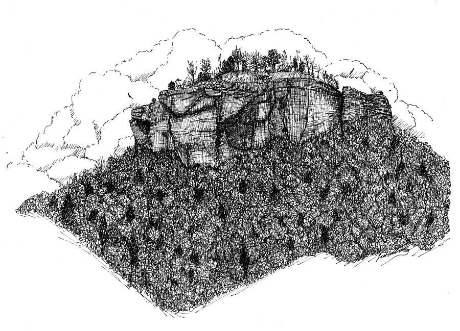Pen Drawing - Sugar Loaf Mtn. Heber Springs Ar. by Lee Halbrook