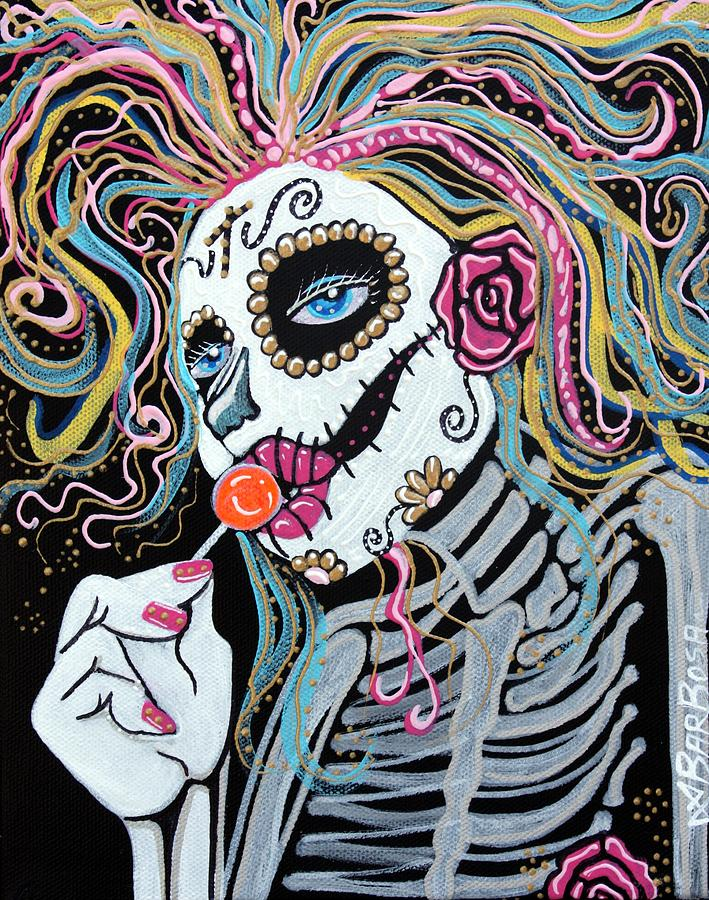 Sugar Skull Lollipop Painting by Laura Barbosa