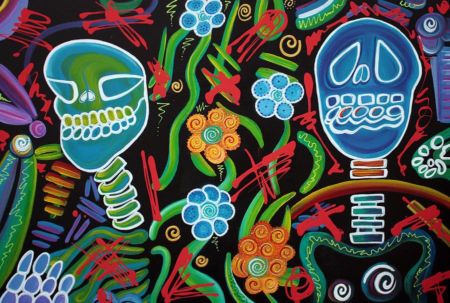 Abstract Painting - Sugar Skull Spirits 2 by Laura Barbosa