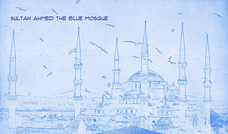 Sultan ahmed the blue mosque blueprint drawing digital art by painting digital art sultan ahmed the blue mosque blueprint drawing by motionage designs malvernweather Images