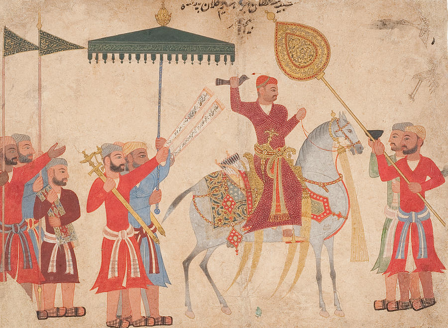 Indian Painting - Sultan Hussain Nizam Shah I Of Ahmadnagar On Horseback by Indian School