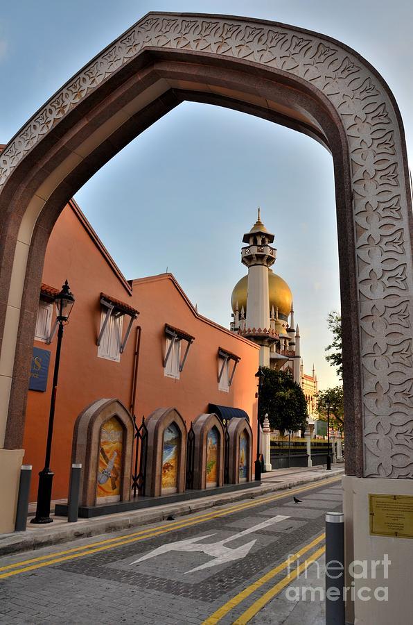 Arch Photograph - Sultan Mosque Arab Street Thru Arch Singapore by Imran Ahmed