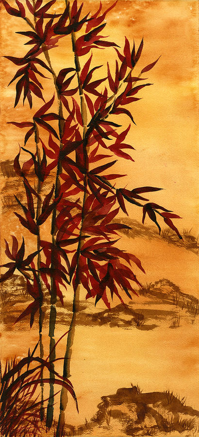 Bamboo Painting Painting - Sumi-e Red Bamboo by Diane Ferron