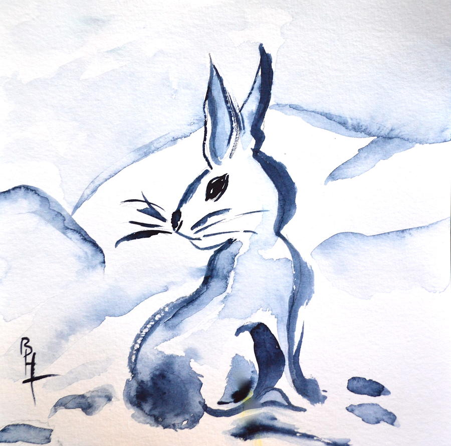 Sumi-e Snow Bunny Painting - Sumi-e Snow Bunny by Beverley Harper Tinsley