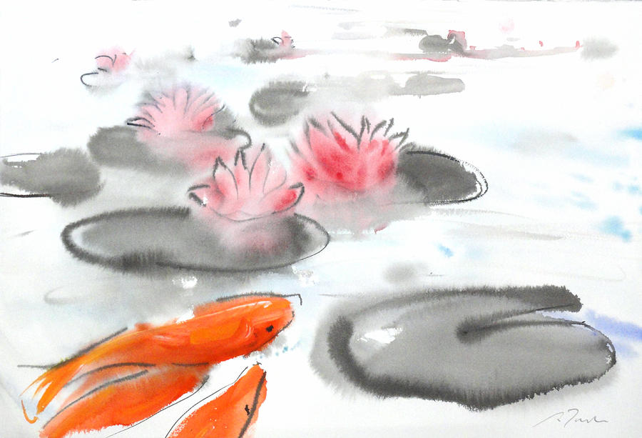 Woods Painting - Sumie No.11 Koi Fish And Lotus Flowers by Sumiyo Toribe