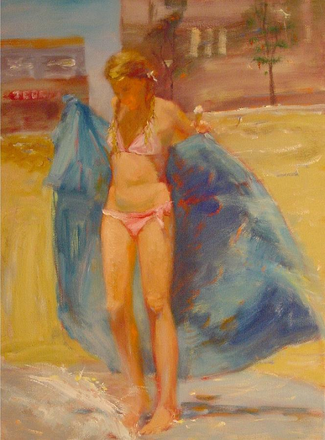 Girl Painting - SOLD Summer 2005 by Irena  Jablonski