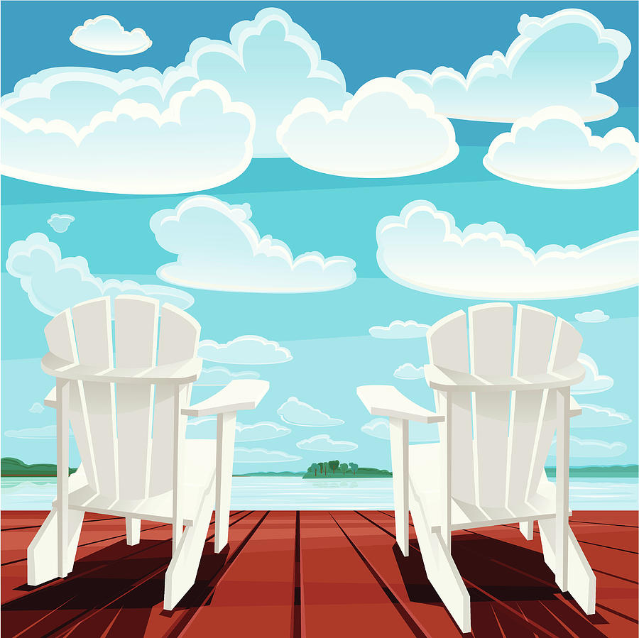 Summer Background Muskoka Chairs Digital Art by Rusanovska