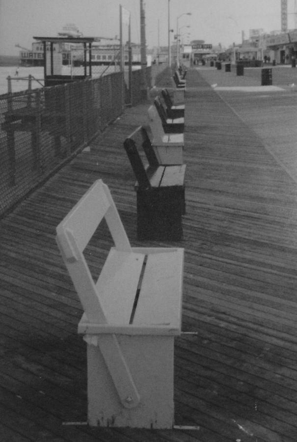 Seaside Heights Photograph - Summer Benches Seaside Heights Nj Bw by Joann Renner