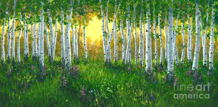 Aspens Trees Painting - Summer Birch 24 X 48 by Michael Swanson