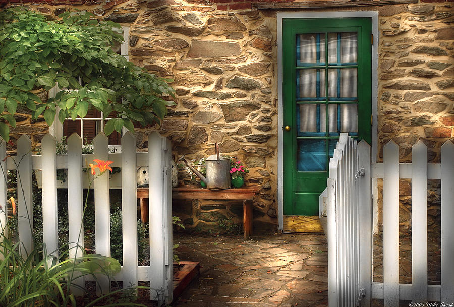 Savad Photograph - Summer - Cottage - Cottage Side Door by Mike Savad