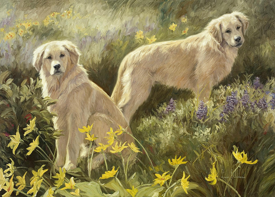 Dog Painting - Summer Day by Lucie Bilodeau