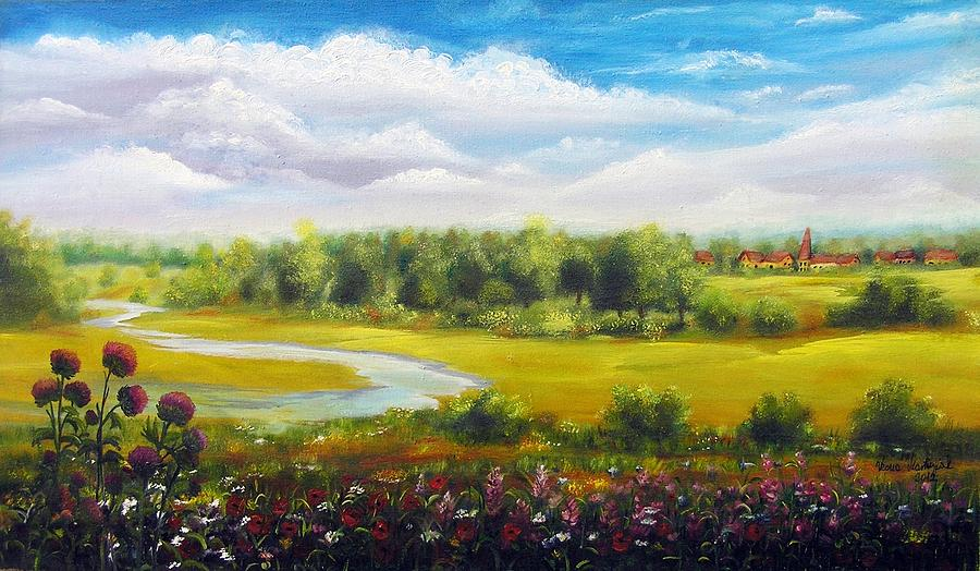 Landscape Painting - Summer Day by Vesna Martinjak