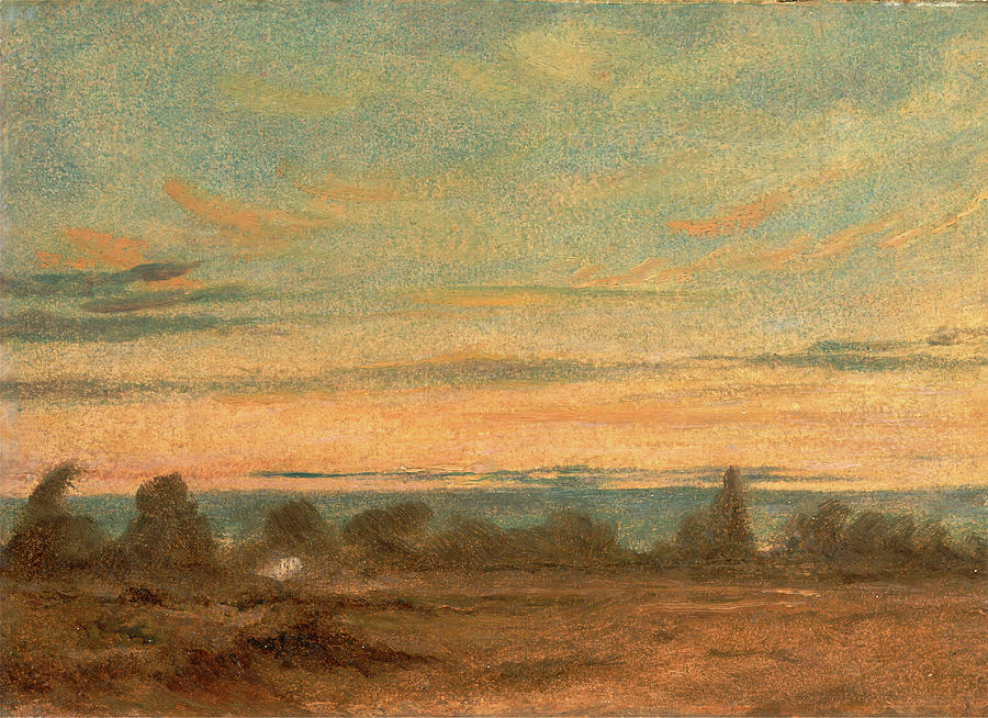 Draftsman Painting - Summer - Evening Landscape, Attributed To John Constable by Litz Collection