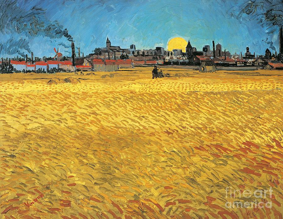 Post Painting - Summer Evening Wheat Field At Sunset by Vincent van Gogh