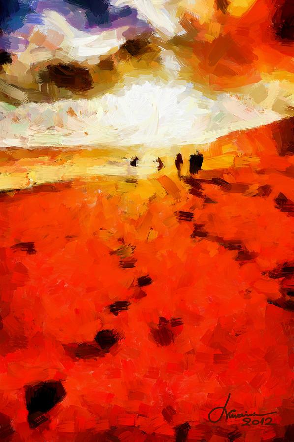 Red Digital Art - Summer Fire Tnm by Vincent DiNovici