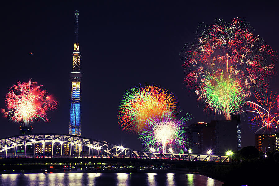 Summer Firework On Sumida River Photograph by Shenyangs Photo. All Rights Reserved.