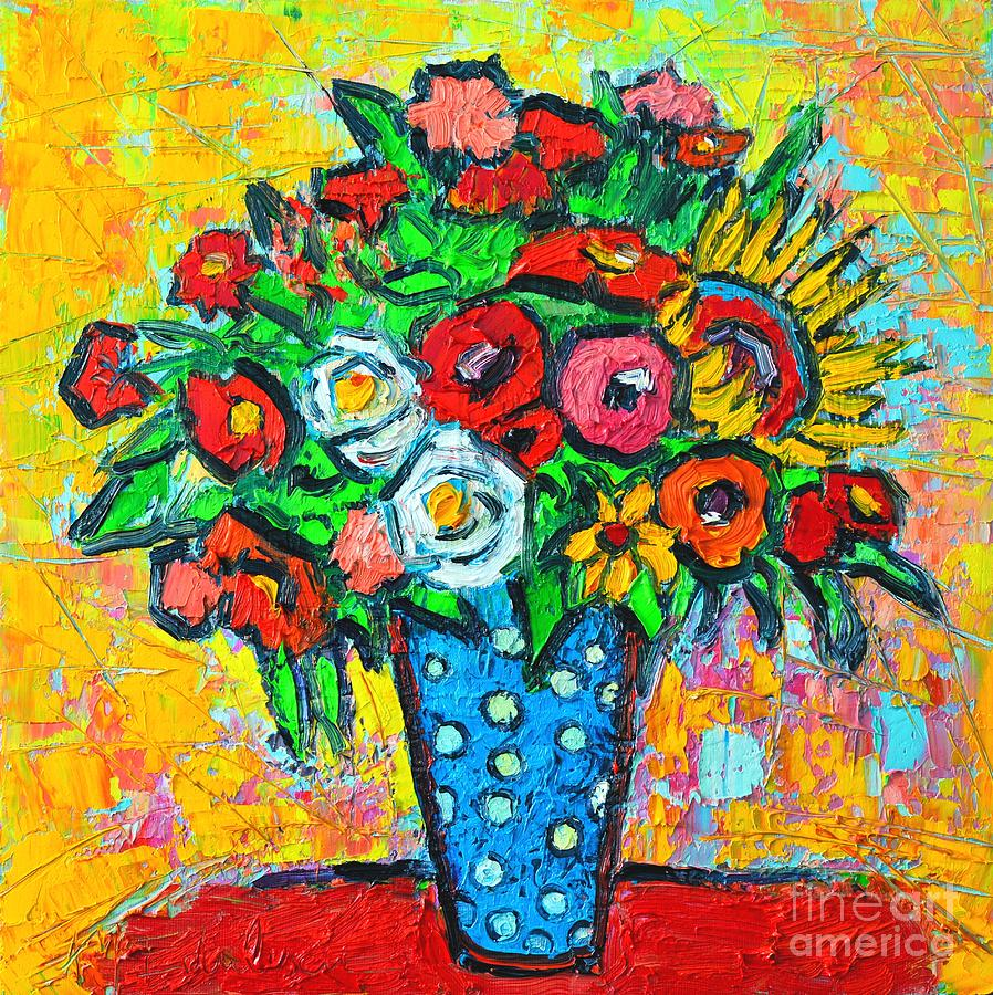 Flowers Painting - Summer Floral Bouquet - Sunflowers Poppies And Roses by Ana Maria Edulescu