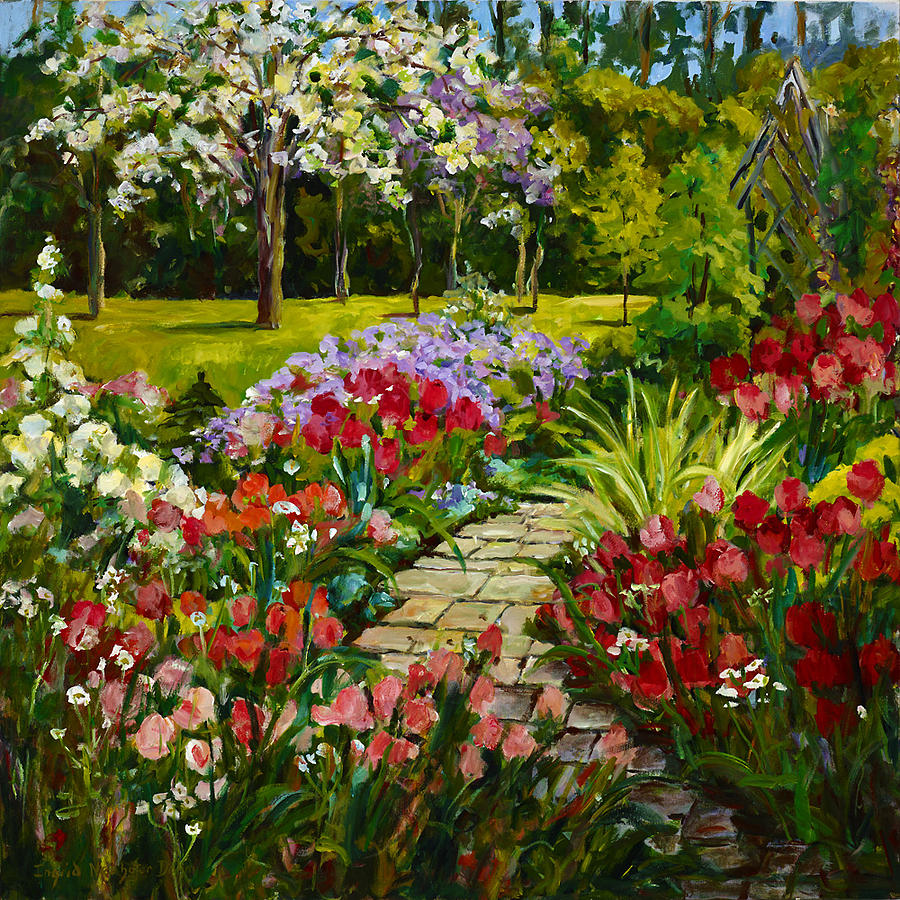 Summer Flower Garden Painting By Ingrid Dohm